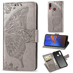 Embossing Mandala Flower Butterfly Leather Wallet Case for Motorola Moto E6 Plus - Gray