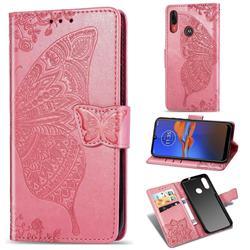 Embossing Mandala Flower Butterfly Leather Wallet Case for Motorola Moto E6 Plus - Pink