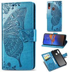 Embossing Mandala Flower Butterfly Leather Wallet Case for Motorola Moto E6 Plus - Blue