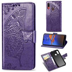 Embossing Mandala Flower Butterfly Leather Wallet Case for Motorola Moto E6 Plus - Dark Purple