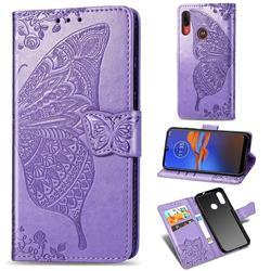 Embossing Mandala Flower Butterfly Leather Wallet Case for Motorola Moto E6 Plus - Light Purple