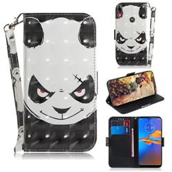 Angry Bear 3D Painted Leather Wallet Phone Case for Motorola Moto E6 Plus