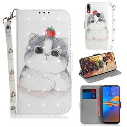 Cute Tomato Cat 3D Painted Leather Wallet Phone Case for Motorola Moto E6 Plus