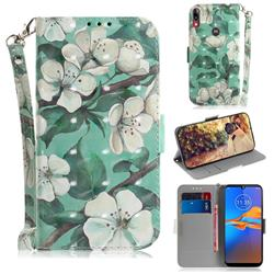 Watercolor Flower 3D Painted Leather Wallet Phone Case for Motorola Moto E6 Plus