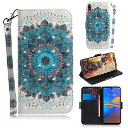 Peacock Mandala 3D Painted Leather Wallet Phone Case for Motorola Moto E6 Plus