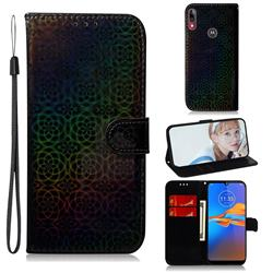 Laser Circle Shining Leather Wallet Phone Case for Motorola Moto E6 Plus - Black