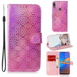 Laser Circle Shining Leather Wallet Phone Case for Motorola Moto E6 Plus - Pink