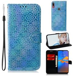 Laser Circle Shining Leather Wallet Phone Case for Motorola Moto E6 Plus - Blue