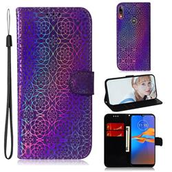 Laser Circle Shining Leather Wallet Phone Case for Motorola Moto E6 Plus - Purple