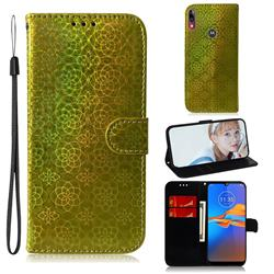 Laser Circle Shining Leather Wallet Phone Case for Motorola Moto E6 Plus - Golden