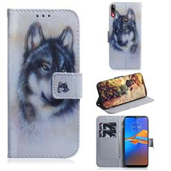 Snow Wolf PU Leather Wallet Case for Motorola Moto E6 Plus