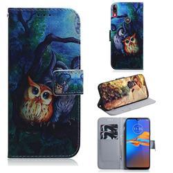 Oil Painting Owl PU Leather Wallet Case for Motorola Moto E6 Plus