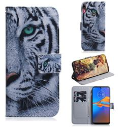 White Tiger PU Leather Wallet Case for Motorola Moto E6 Plus