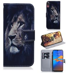 Lion Face PU Leather Wallet Case for Motorola Moto E6 Plus