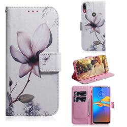Magnolia Flower PU Leather Wallet Case for Motorola Moto E6 Plus