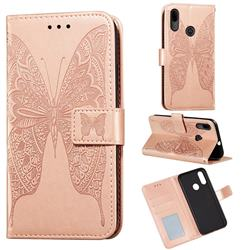 Intricate Embossing Vivid Butterfly Leather Wallet Case for Motorola Moto E6 Plus - Rose Gold