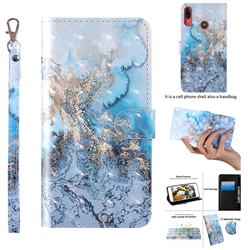 Milky Way Marble 3D Painted Leather Wallet Case for Motorola Moto E6 Plus