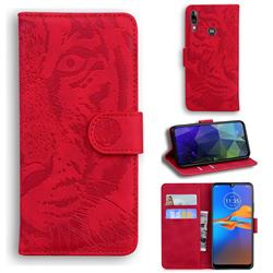 Intricate Embossing Tiger Face Leather Wallet Case for Motorola Moto E6 Plus - Red