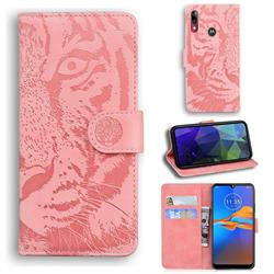 Intricate Embossing Tiger Face Leather Wallet Case for Motorola Moto E6 Plus - Pink