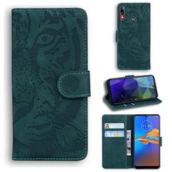 Intricate Embossing Tiger Face Leather Wallet Case for Motorola Moto E6 Plus - Green