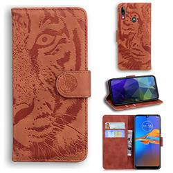 Intricate Embossing Tiger Face Leather Wallet Case for Motorola Moto E6 Plus - Brown
