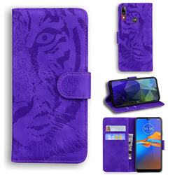 Intricate Embossing Tiger Face Leather Wallet Case for Motorola Moto E6 Plus - Purple
