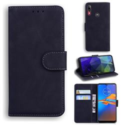 Retro Classic Skin Feel Leather Wallet Phone Case for Motorola Moto E6 Plus - Black
