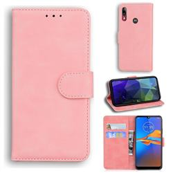 Retro Classic Skin Feel Leather Wallet Phone Case for Motorola Moto E6 Plus - Pink