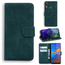 Retro Classic Skin Feel Leather Wallet Phone Case for Motorola Moto E6 Plus - Green