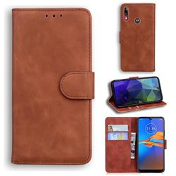Retro Classic Skin Feel Leather Wallet Phone Case for Motorola Moto E6 Plus - Brown