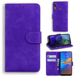 Retro Classic Skin Feel Leather Wallet Phone Case for Motorola Moto E6 Plus - Purple