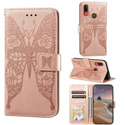 Intricate Embossing Rose Flower Butterfly Leather Wallet Case for Motorola Moto E6 Plus - Rose Gold