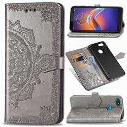 Embossing Imprint Mandala Flower Leather Wallet Case for Motorola Moto E6 Play - Gray
