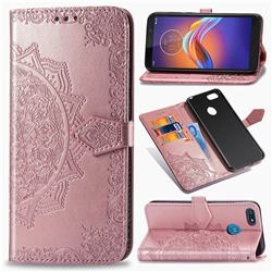 Embossing Imprint Mandala Flower Leather Wallet Case for Motorola Moto E6 Play - Rose Gold