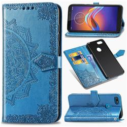 Embossing Imprint Mandala Flower Leather Wallet Case for Motorola Moto E6 Play - Blue