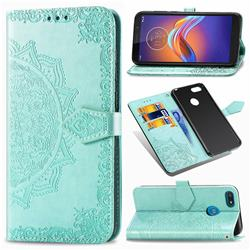 Embossing Imprint Mandala Flower Leather Wallet Case for Motorola Moto E6 Play - Green