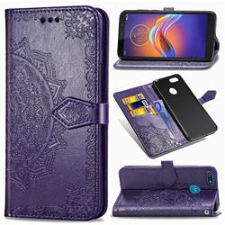 Embossing Imprint Mandala Flower Leather Wallet Case for Motorola Moto E6 Play - Purple