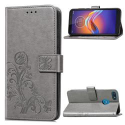 Embossing Imprint Four-Leaf Clover Leather Wallet Case for Motorola Moto E6 Play - Grey