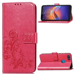 Embossing Imprint Four-Leaf Clover Leather Wallet Case for Motorola Moto E6 Play - Rose