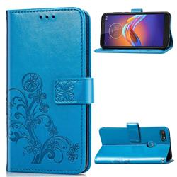 Embossing Imprint Four-Leaf Clover Leather Wallet Case for Motorola Moto E6 Play - Blue
