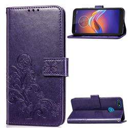 Embossing Imprint Four-Leaf Clover Leather Wallet Case for Motorola Moto E6 Play - Purple