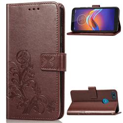 Embossing Imprint Four-Leaf Clover Leather Wallet Case for Motorola Moto E6 Play - Brown