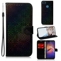 Laser Circle Shining Leather Wallet Phone Case for Motorola Moto E6 Play - Black