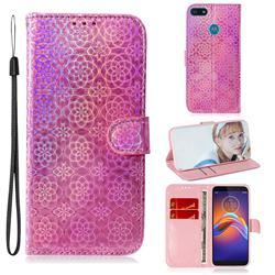 Laser Circle Shining Leather Wallet Phone Case for Motorola Moto E6 Play - Pink