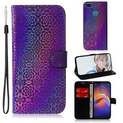Laser Circle Shining Leather Wallet Phone Case for Motorola Moto E6 Play - Purple