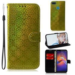 Laser Circle Shining Leather Wallet Phone Case for Motorola Moto E6 Play - Golden
