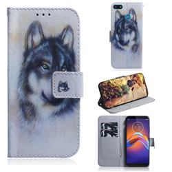 Snow Wolf PU Leather Wallet Case for Motorola Moto E6 Play