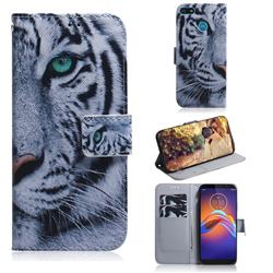White Tiger PU Leather Wallet Case for Motorola Moto E6 Play