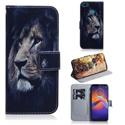 Lion Face PU Leather Wallet Case for Motorola Moto E6 Play