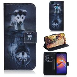 Wolf and Dog PU Leather Wallet Case for Motorola Moto E6 Play